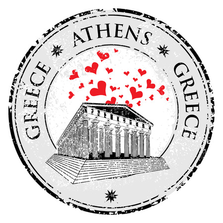 Love heart stamp with the Parthenon shape from Greece and the name Greece written inside the stamp Vector