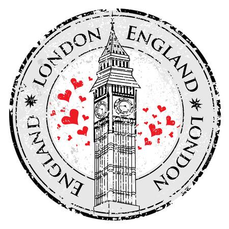 Grunge love heart stamp London Great Britain, Big Ben tower vector