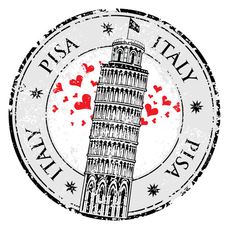 pisa tower: Stamp love heart Pisa tower in Italy vector illustration Illustration