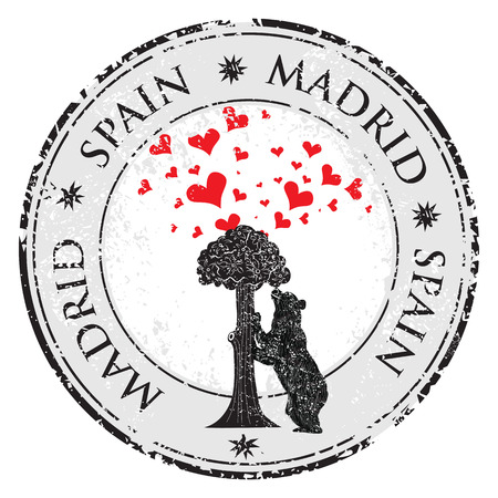 Love heart stamp with statue of Bear and strawberry tree and the words Madrid Spain inside vector illustration