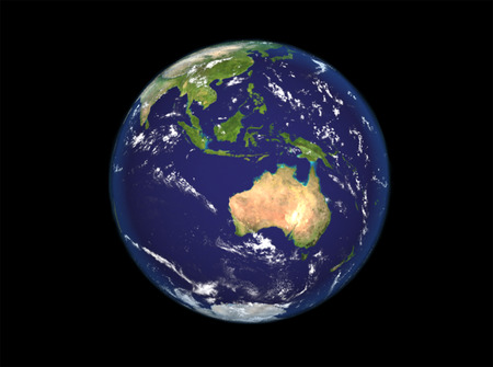 australasia: The Earth from space showing Australia and Indonesia. Extremely detailed image including elements furnished by NASA. Other orientations available.