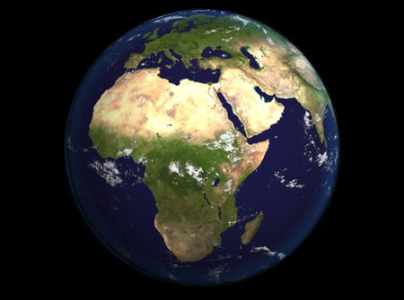 The Earth from space showing Europe and Africa. Extremely detailed image including elements furnished by NASA. Other orientations available.