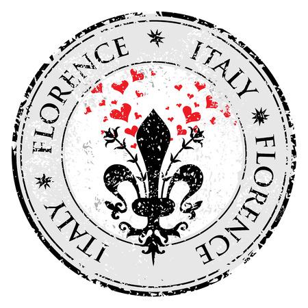 florence italy: Le fleur de lis di Firenze meta turistica grunge timbro di gomma con il simbolo di Firenze Italia all'interno illustrazione vettoriale Vettoriali