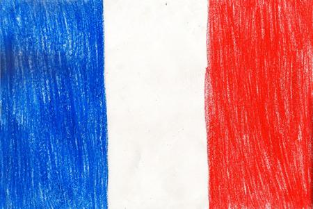 francais: France flag, pencil drawing illustration kid style photo image Stock Photo
