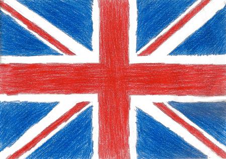 britain flag: Breta�a bandera l�piz ilustraci�n imagen Gr�fico del estilo del ni�o de la foto Foto de archivo