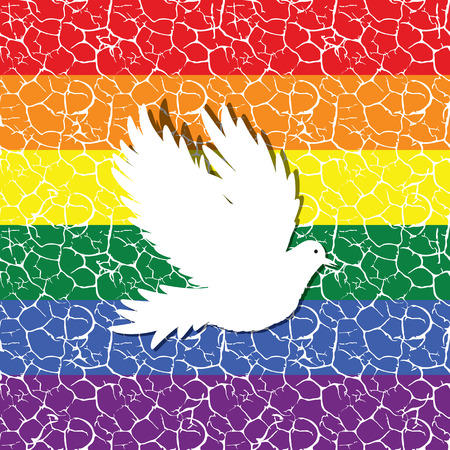 bisexuality: Gay pride flag with a bird dove as peace symbol,  seamless tiled pattern in it vector