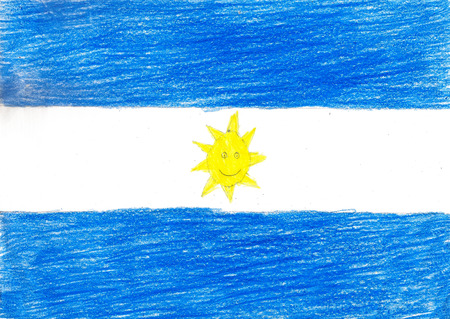 bandera argentina: Argentina bandera, imagen L�piz de dibujo ilustraci�n joven Foto de estilo Foto de archivo