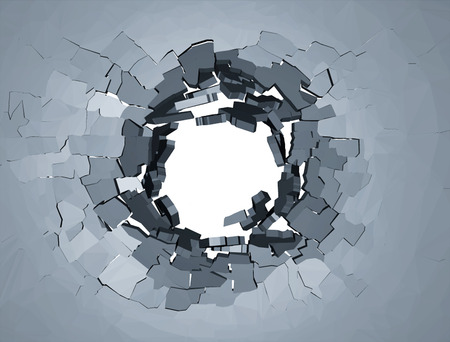 flaw: Hole cracks in the wall. Broken concrete template for a content. Cleft, crushed, flaw illustration.