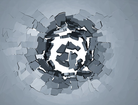 quake: Hole cracks in the wall. Broken concrete template for a content. Cleft, crushed, flaw illustration.