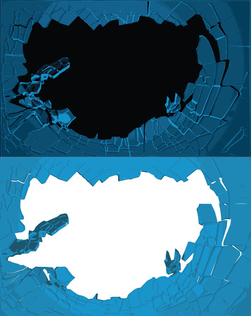 flaw: Hole cracks in the wall. Broken ice or glass template for a content. Cleft, crushed, flaw vector illustration. Illustration