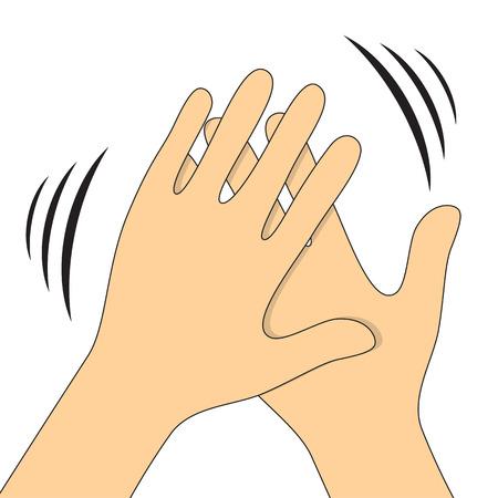 aplaudiendo: Las manos aplaudiendo símbolo. Iconos del vector para el vídeo, aplicaciones móviles, sitios web y proyectos de impresión. Vectores