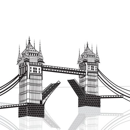 london tower bridge: Tower Bridge, London vector hand drawn illustration