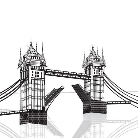 river thames: Tower Bridge, London vector hand drawn illustration