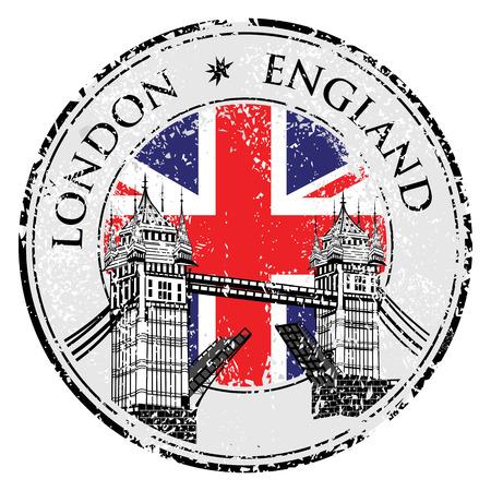timbre voyage: Illustration Tower Bridge grunge timbre avec drapeau, illustration vectorielle, établi à Londres vecteur main Illustration