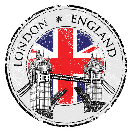 stamp: Tower Bridge grunge stamp with flag, vector illustration , London vector hand drawn illustration