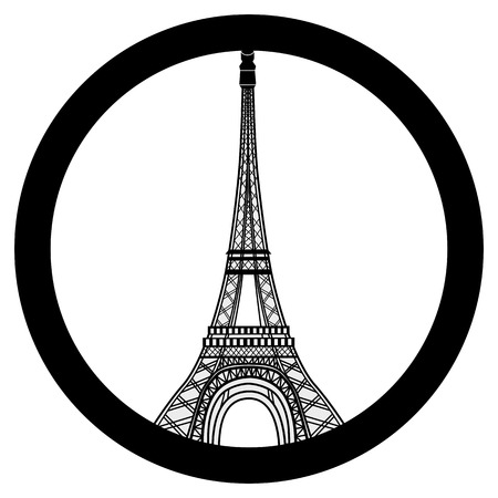 victims: Peace for Paris symbol Eiffel Tower. Pray for the victims of terrorism attack vector. Illustration