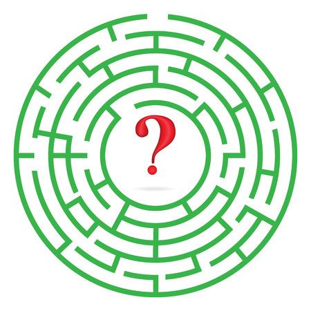Labyrinthe avec interrogation marque illustration vectorielle