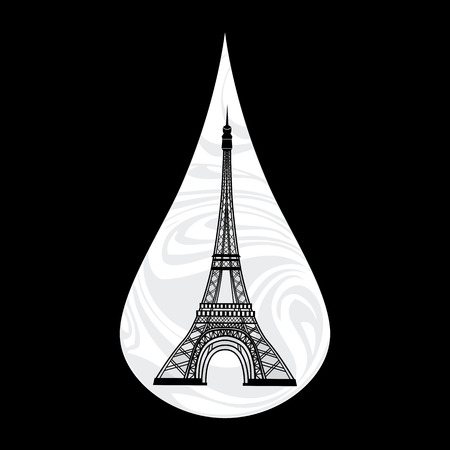 metaphoric: Metaphoric illustration of France. Crying tear, mourning, Paris on the background, with an Eiffel tower vector illustration. Illustration
