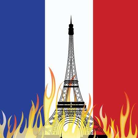 victim war: PARISFRANCE - Friday, 13th November 2015, terror attacks across Paris. Vector illustration of The Eiffel Tower . Illustration