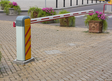 access control: Security barrier for parking vehicles photo Stock Photo