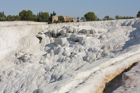 carbonates: Natural travertine pools and terraces,  Stock Photo
