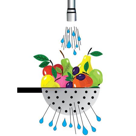 water splash: colador de metal y fruta. Ilustraci�n de colador con la fruta colocada bajo el agua Vectores