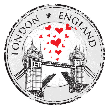 london tower bridge: Tower Bridge grunge stamp with hearts, vector illustration , London vector hand drawn illustration Illustration
