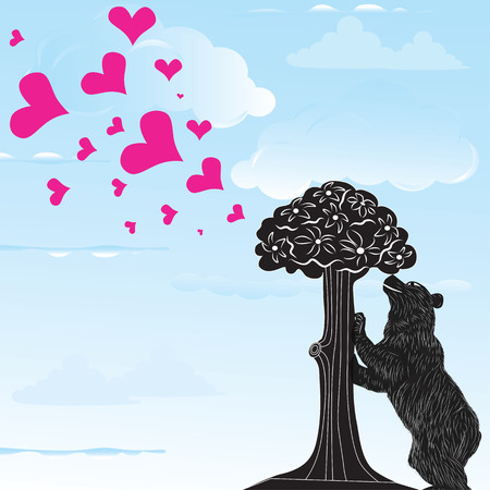 strawberry tree: Love heart background with statue of Bear and strawberry tree and the words Madrid, Spain inside, vector illustration