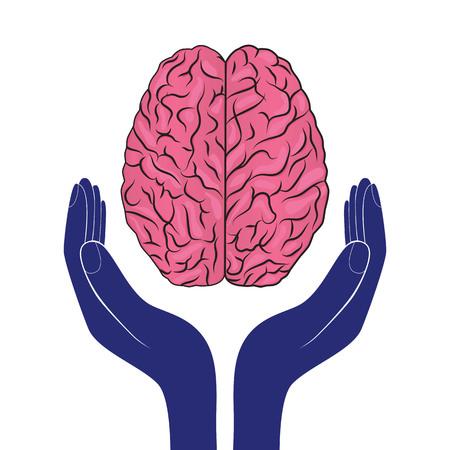 geestelijke gezondheid teken vector menselijke hersenen als concept