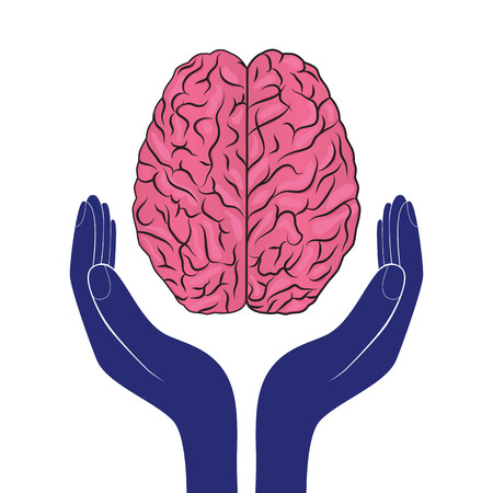 mental health sign vector human brain as concept Illustration