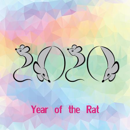 chinese horoscope: Rat, mouse chinese horoscope animal sign. The vector art image in decorative style Illustration