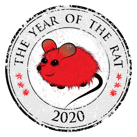 chinese horoscope: Rat, mouse chinese horoscope animal sign. The vector stamp art image in decorative style