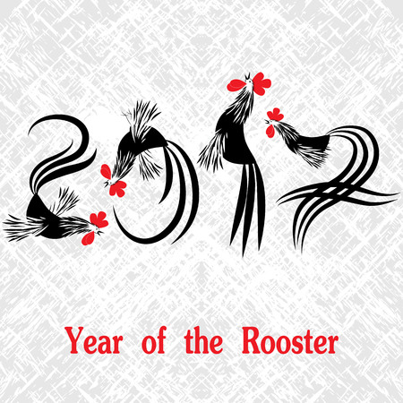 Rooster bird concept of Chinese New Year of the Rooster. Grunge vector file organized in layers for easy editing. Çizim