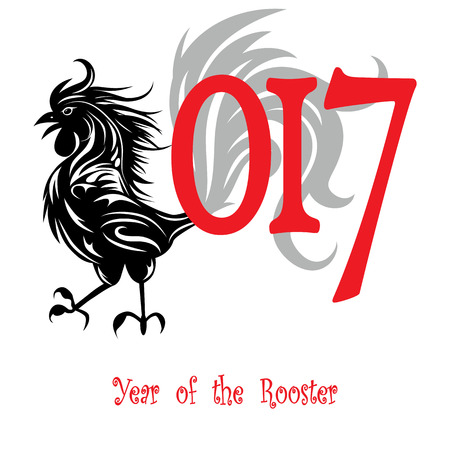 organized: Rooster bird concept of Chinese New Year of the Rooster. Grunge file organized in layers for easy editing.