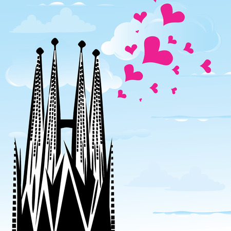 gaudi: I love town city Barcelona, Spain, heart illustration of Sagrada Familia