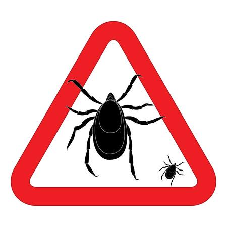 señal de advertencia de ácaros. ilustración de la señal de peligro de la garrapata. Señal de peligro del brote. Señal de peligro del parásito. Ácaro parásito signo de la piel. parásito de la piel ácaro aislado en blanco.