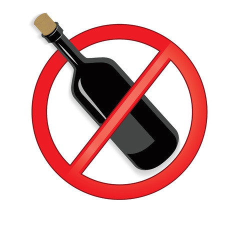 not permitted: No alcohol sign on white background. Illustration