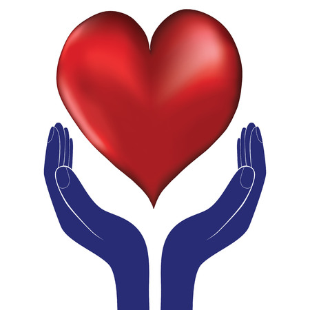 goodness: Hands and heart. Icon of kindness and charity valentine day