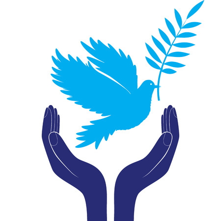 pathetic: hands and dove of peace illustration Illustration