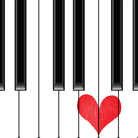 clavier: Heart love music piano playing a song for valentine day vector background.