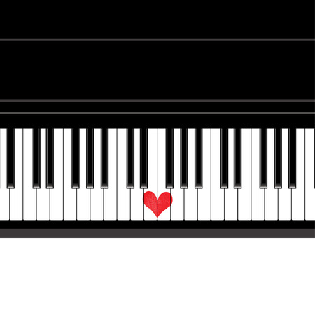 heart tone: Heart love music piano playing a song for valentine day vector background.