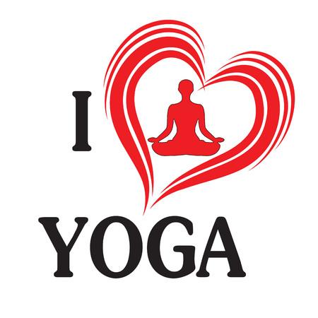 zen like: Yoga love vector illustration heart of silhouette woman in lotus pose