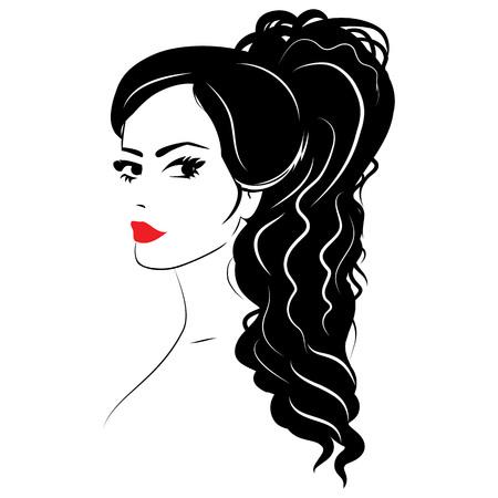 Bellezza ragazza faccia schizzo, donna faccia vettore ritratto. Onda capelli.