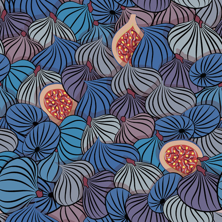 Fig vector. Seamless pattern with half and whole fruit. Vettoriali
