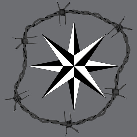 chainlink: Barbed wire circle frame windrose navigation symbol. Vector fence illustration. Protection concept design.