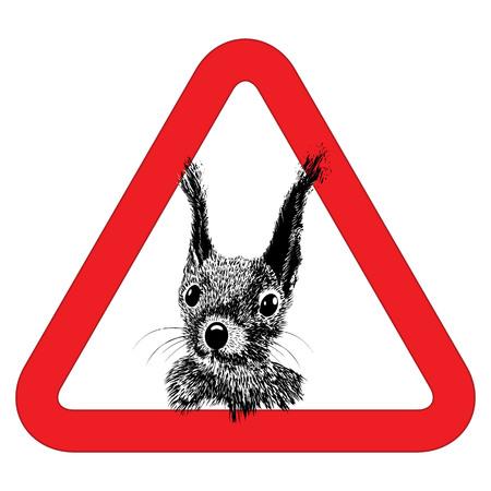 Animal free, sign warning squirrel zone vector