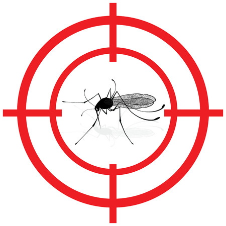 Signaling, mosquitoes with mosquito target gnat mira signal vector. Ideal for informational and institutional sanitation and related care. Illustration