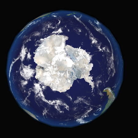 Antarctica on earth and universe background 3D render. Elements of this image furnished by NASA