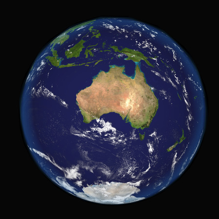 3d nitrogen: The Earth from space showing Australia and Indonesia. Extremely detailed image including elements furnished by NASA. Other orientations available.