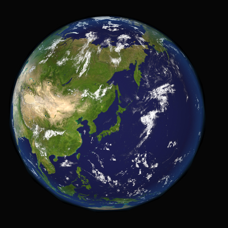View on Earth centered on Japan elements of this 3d image furnished by NASA Stock Photo